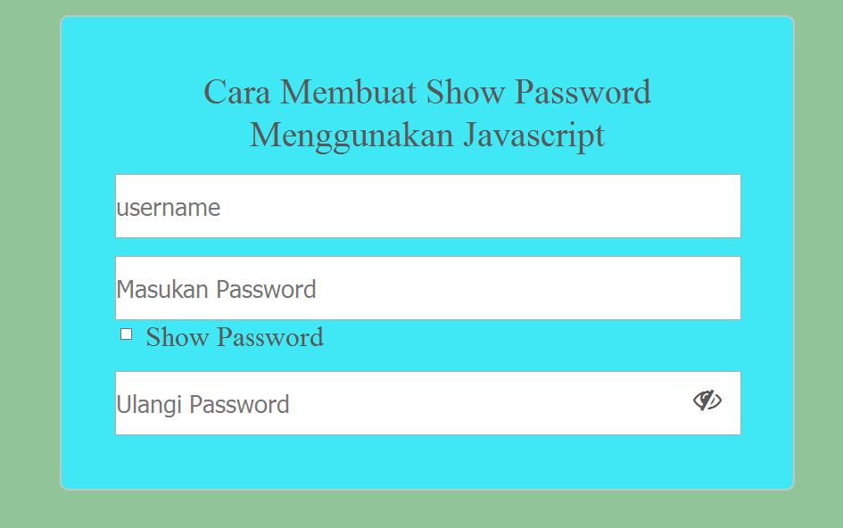 Cara Membuat Show Password Menggunakan Javascript - Kursus Website