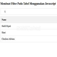 Membuat Filter Pada Tabel Menggunakan Javascript