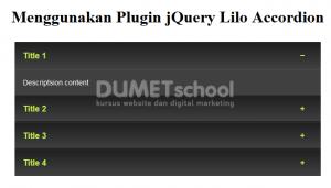 Menggunakan Plugin jQuery Lilo Accordion