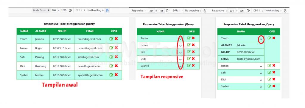 Membuat Responsive Tabel Menggunakan jQuery